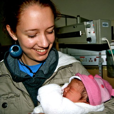 Yara and I, the day after she was born